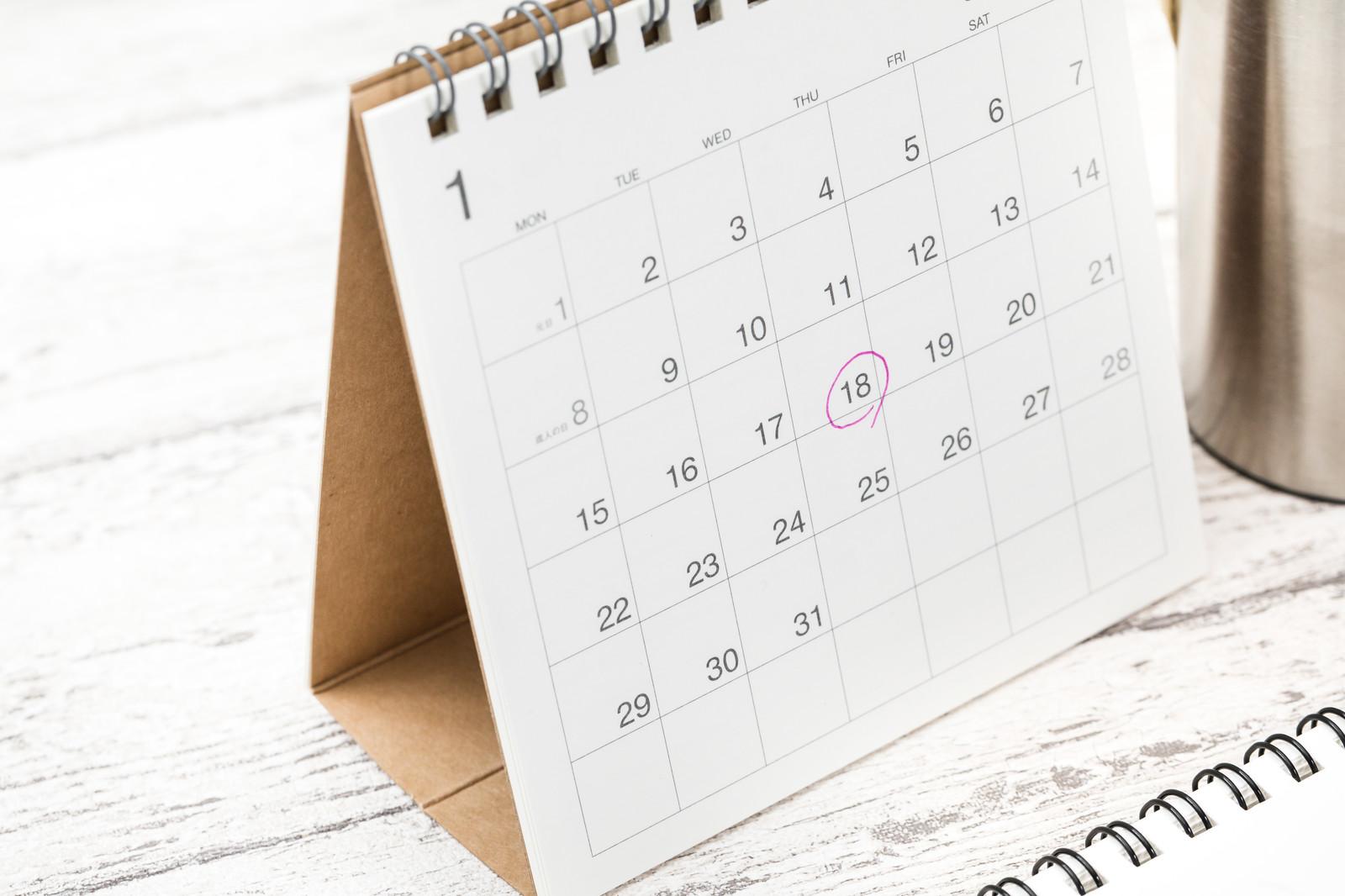 CLASでレンタルした家具が届く日に丸が付けられたカレンダー